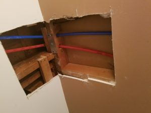 Drywall repair - bathroom ceiling & wall before drywall installation