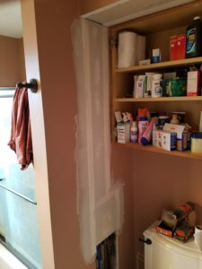Drywall repair - bathroom wall & ceiling after first coat of tape