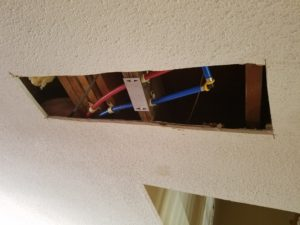 Drywall repair foyer ceiling - Hole before drywall installation