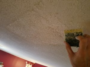 Drywall repair foyer ceiling - Applying ceiling texture to foyer ceiling repair