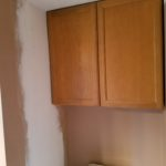Drywall repair - bathroom wall & ceiling after final coat of plaster