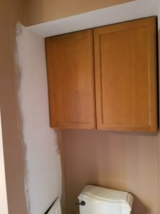 Drywall repair - bathroom wall & ceiling after final coat of plaster